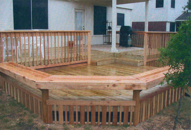 deck, railing and bench