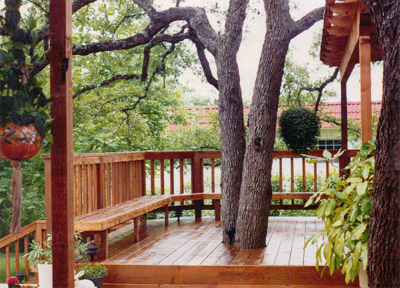 deck, bench and railings